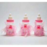 Rožinis dekoratyvinis buteliukas - dovanų dėžutė