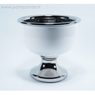 White/Silver Ceramic Dish With the Leg