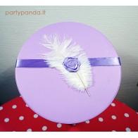 Cilindro formos dovanų dėžutė su plunksna levandų spalvos, vidutinė
