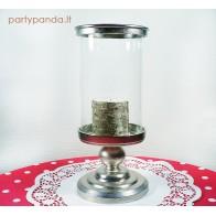 Stiklinė-metalinė žvakidė ant kojelės, h 38,5 cm
