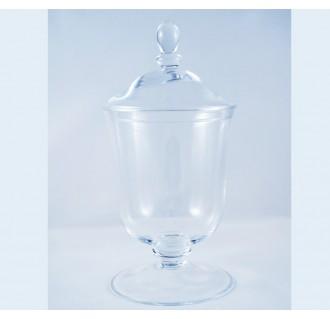 Dekoratyvinis stiklinis indas ant kojelės su dangteliu