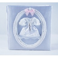 Christening photo album with pink ribbon
