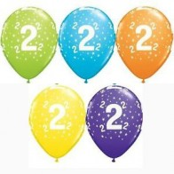 "Age 2/2nd Birthday Mixed Qualatex 11"" Latex Balloons x5"