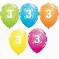 "Age 3/3rd Birthday Mixed Qualatex 11"" Latex Balloons x5"