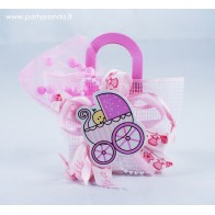 Dovanų maišelis su vežimėliu, rožinis