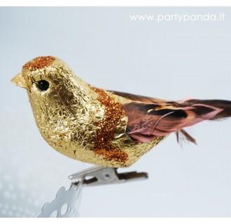 Auksinis dekoratyvinis paukštelis