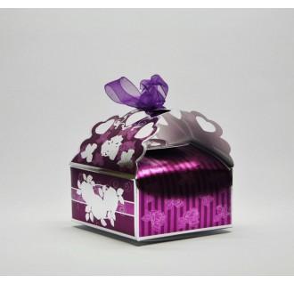 Dovanų dėžutė su kapinėliu, purpurinė