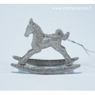 Kalėdinis žaisliukas-arkliukas, sidabrinis