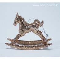 Kalėdinis žaisliukas-arkliukas, vario spalvos