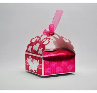 Dovanų dėžutė su kaspinėliu, rožinė