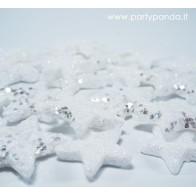 Blizgios Kalėdinės dekoracijos-žvaigždės, sidabro spalvos