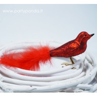 Decorative Bird With a Feather, Red