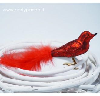 Dekoratyvinis paukštelis su plunksna, raudonas