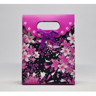 Popierinis gėlėtas dovanų maišelis, purpurinis