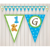 Paper garland for first birthday with a bear