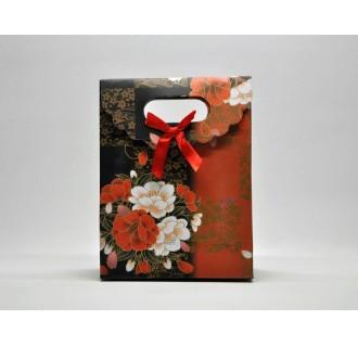 Popierinis gėlėtas dovanų maišelis, raudonas