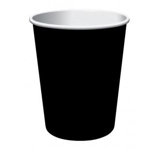 Vienkartinai popieriniai puodeliai, juodi (8 vnt./266 ml)