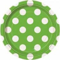 Vienkartinės popierinės lėkštutės, taškuotos, salotinės (8 vnt./18 cm)