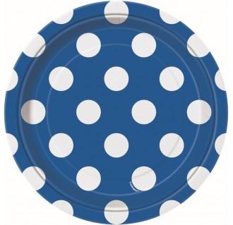 Vienkartinės popierinės lėkštutės, taškuotos, mėlynos (8 vnt./18 cm)