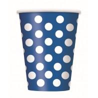 Vienkartinai popieriniai puodeliai, taškuoti, mėlyni (8 vnt./266 ml)