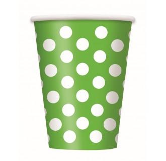 Vienkartiniai popieriniai puodeliai, taškuoti, salotiniai (8 vnt./266 ml)
