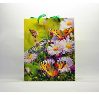Popierinis dovanų maišelis su rankenomis, dekoruotas drugeliais ir gėlėmis