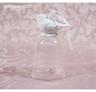 Stiklinis varpelis su paukšteliu