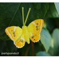 Dekoratyvinis drugelis segtukas, geltonas