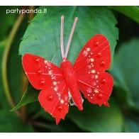 Dekoratyvinis drugelis segtukas, raudonas