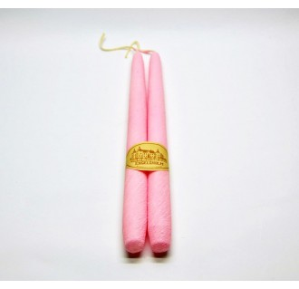 Rožinė tekstūrinė žvakė, 2 vnt.