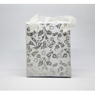 Baltas blizgus dovanų maišelis