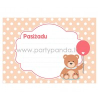"""Pažadų kortelė """"Meškiukas su balionėliu"""", rožinė 10x7 cm"""