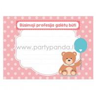 """Tweet    Share    Google+    Pinterest  Būsimos profesijos spėjimo kortelė """"Meškiukas su balionu"""", rožinis 10x7 cm"""