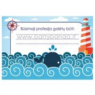 """Būsimos profesijos spėjimo kortelė """"Jūros tema"""" 10x7 cm"""