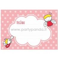 """Pažadų kortelė """"Rožiniai angeliukai"""" 10x7 cm"""