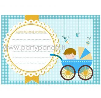 """Būsimos profesijos spėjimo kortelė """"Vežimėlis"""" 10x7 cm"""