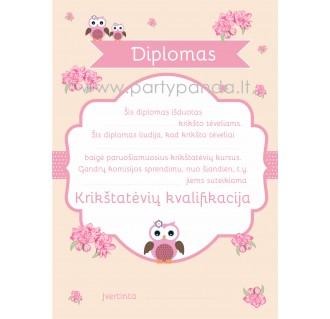 """Diplomas krikšto tėvams """"Pelėdos"""""""