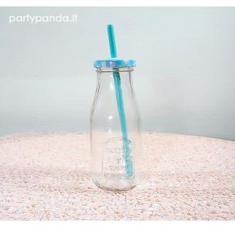 Buteliukas limonadui su šiaudeliu ir metaliniu dangteliu, žydras