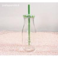 Buteliukas limonadui su šiaudeliu ir metaliniu dangteliu, žalias