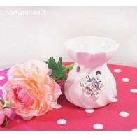 Apvali eterinė žvakidė su gėlėmis