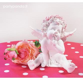 Statulėlė sėdintis baltas angelas su gėlėmis