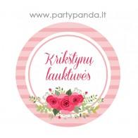 """Krikštynų etiketė-lipdukas """"Krikštynų lauktuvės"""" su gėlėmis, rožinis"""