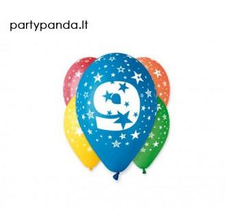 Spalvoti balionai su skaičiumi 9