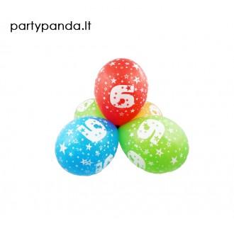 Spalvotas balionas su skaičiumi 6