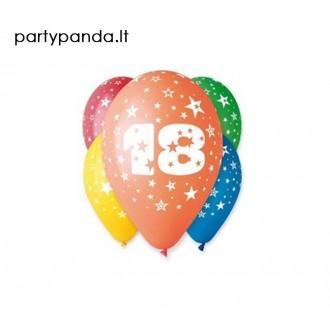 Spalvotas balionas su skaičiumi 18