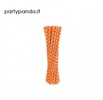Popieriniai šiaudeliai oranžiniai su taškeliais, 24 vnt.