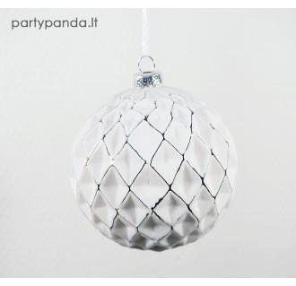 Baltas kalėdinis eglutės žaisliukas burbulas