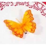 Drugelis segtukas su pūkeliu, oranžinis