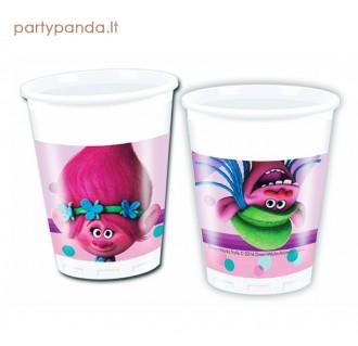 """Plastikiniai vienkartiniai puodeliai """"Trolls"""" (8 vnt./200 ml)"""