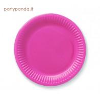 Vienkartinės popierinės ryškiai rožinės lėkštutės  (6 vnt./18 cm)